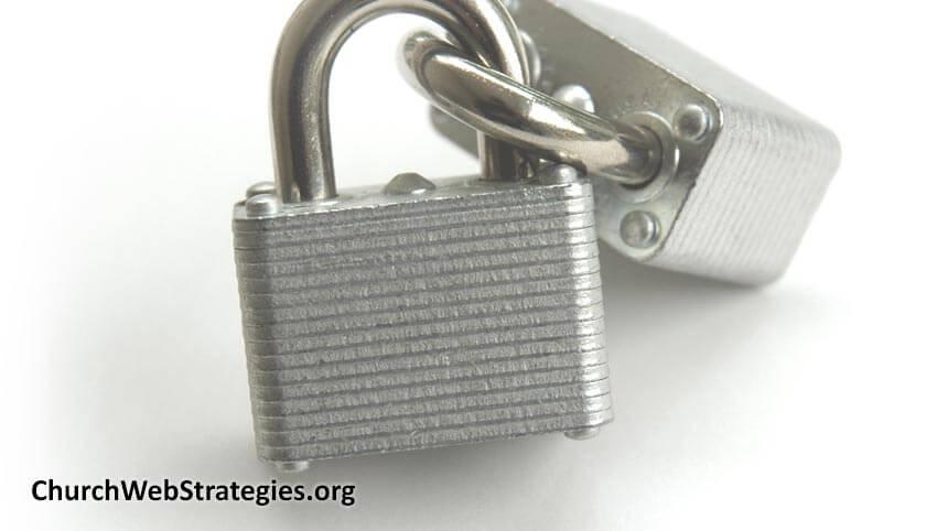 interlocking padlocks on table