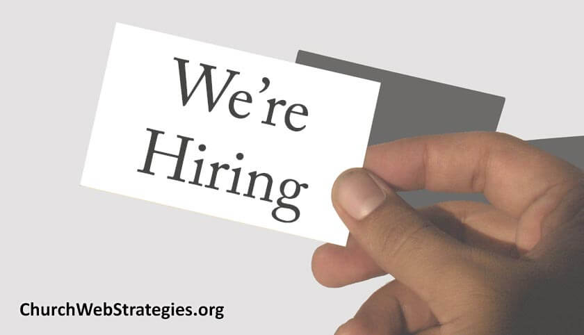 "Business card with ""we're hiring"""