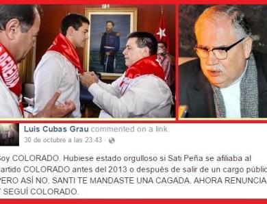 Luis Cubas, el tío de Payo Cubas criticó a Santi Peña por cambiarse al partido colorado.