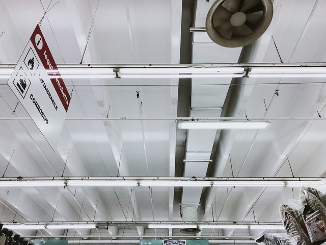large exhaust fan in commercial setting