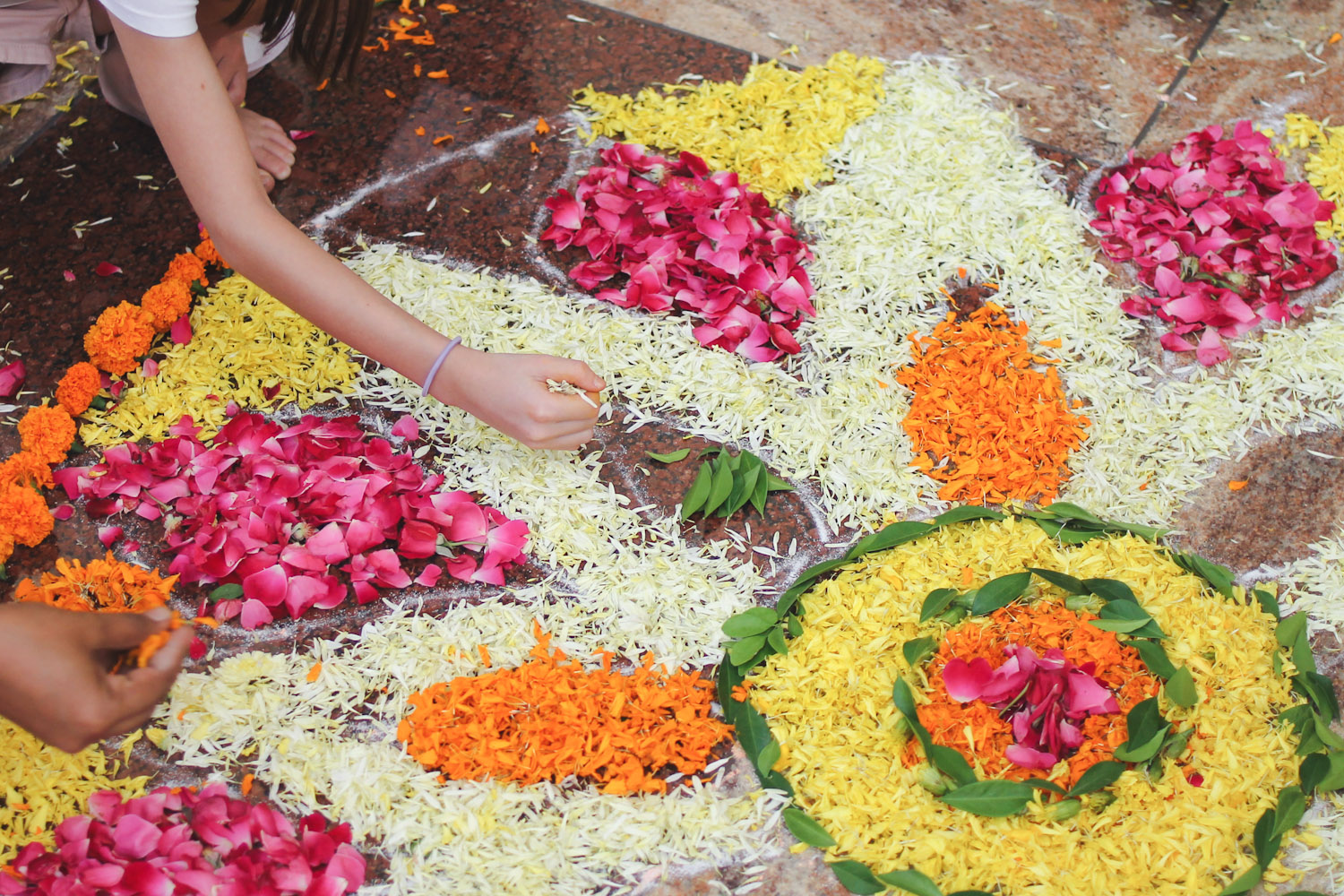 Flower Rangoli Making-15
