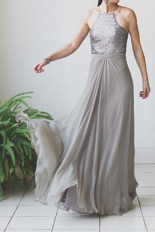 Micky Tan Grey Sequin Chiffon Dress-12