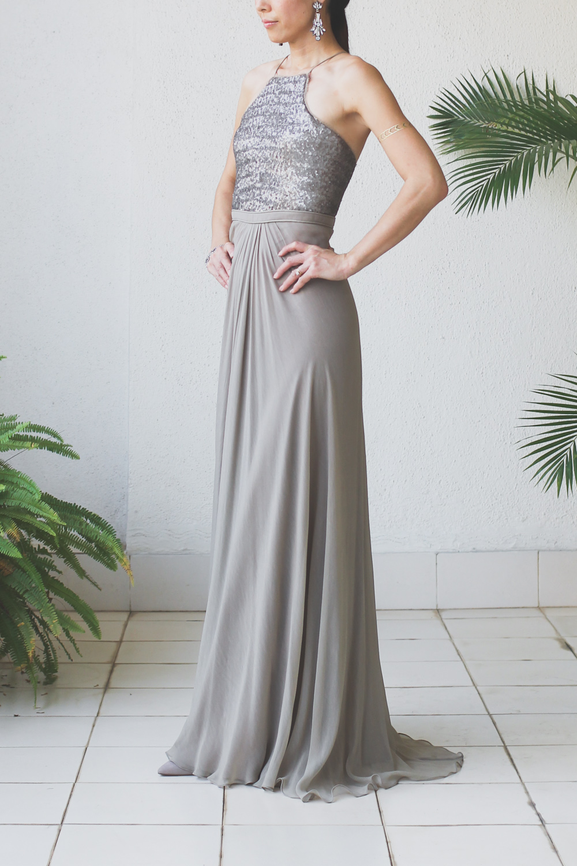 Micky Tan Grey Sequin Chiffon Dress-4