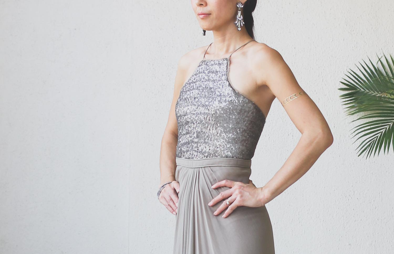 Micky Tan Grey Sequin Chiffon Dress-5