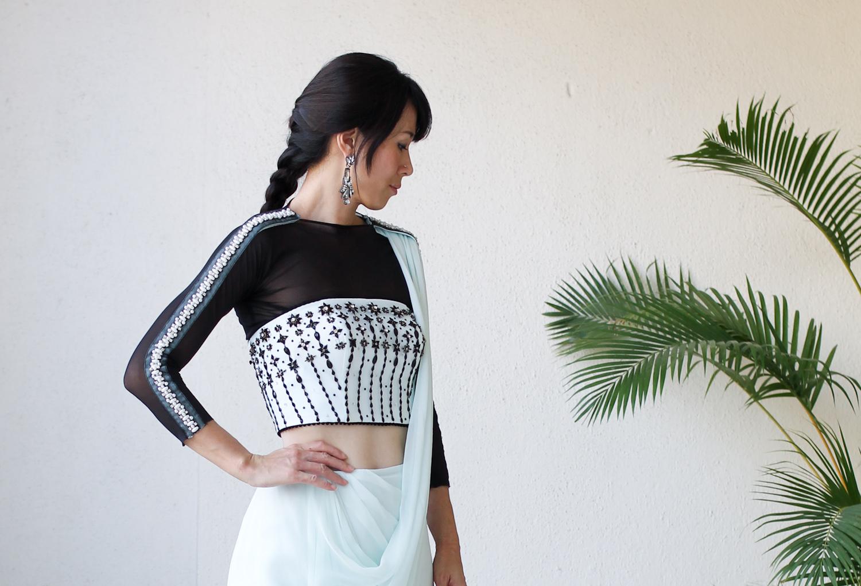 Micky Tan Mint Green Black Sari Dress-13