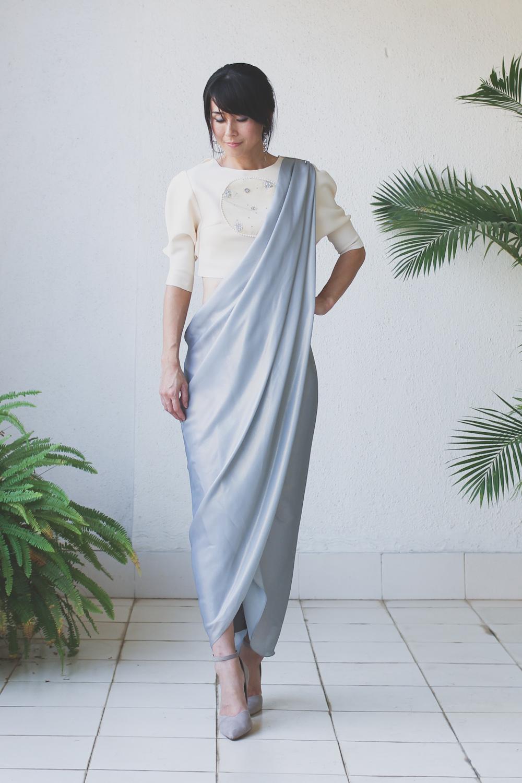 Micky Tan Cream Grey Sari Dress
