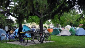 Bicycles and tents in Smokey Bear Park