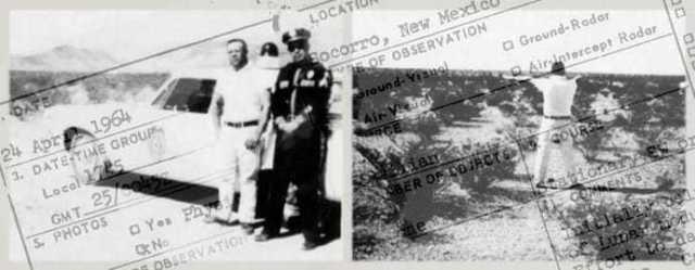 Ein Bericht überlagert zwei nebeneinander liegende Bilder: einen Mann und einen Polizisten, die sich an ein helles Auto lehnen, und einen Mann, der draußen steht und von Pflanzen umgeben ist, mit dem Rücken zur Kamera.
