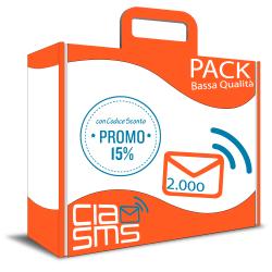 CiaoSMS Pack 2.000 SMS Bassa Qualità
