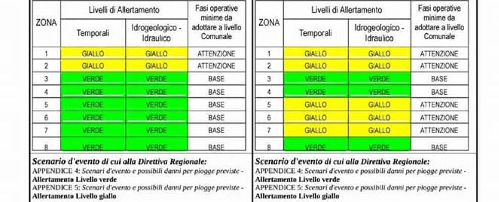 Criticità idrogeologica e temporali tra oggi e domani in Calabria. L'allerta della Protezione Civile