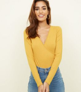 mustard-ribbed-long-sleeve-wrap-bodysuit