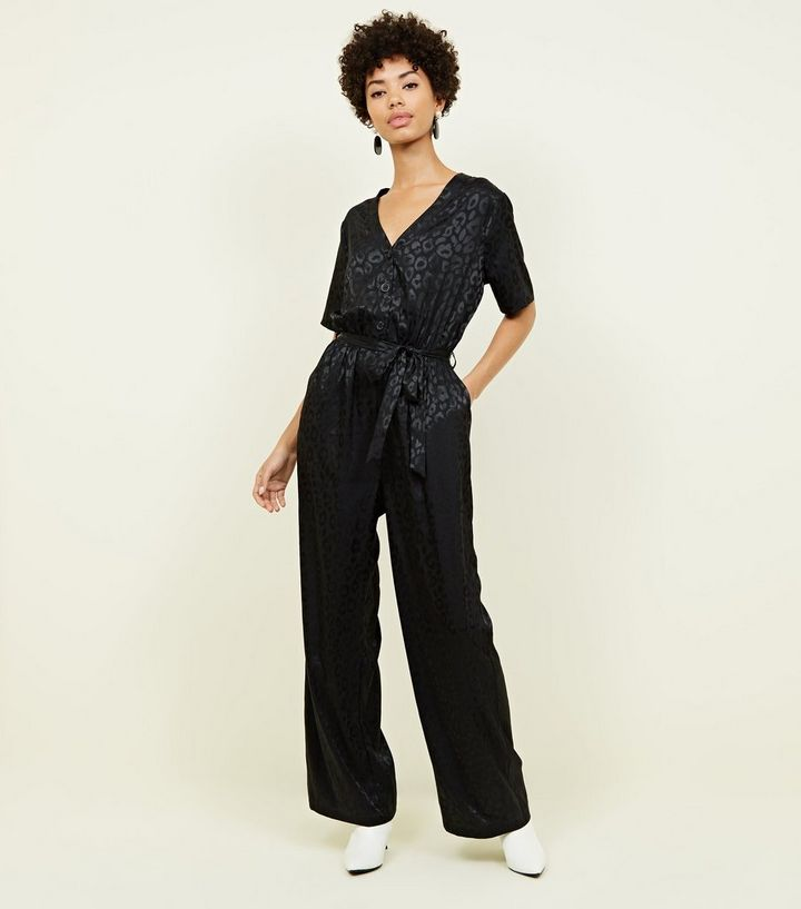 black-leopard-jacquard-button-front-jumpsuit