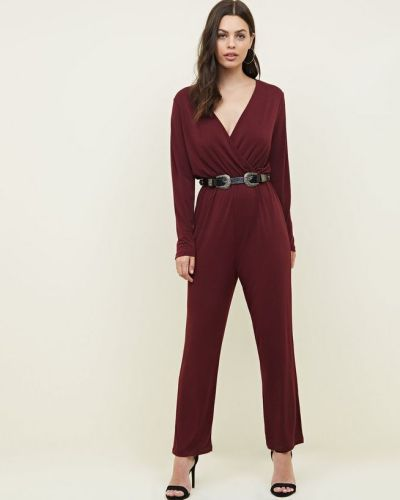 burgundy-crepe-jersey-wrap-front-long-sleeve-jumpsuit