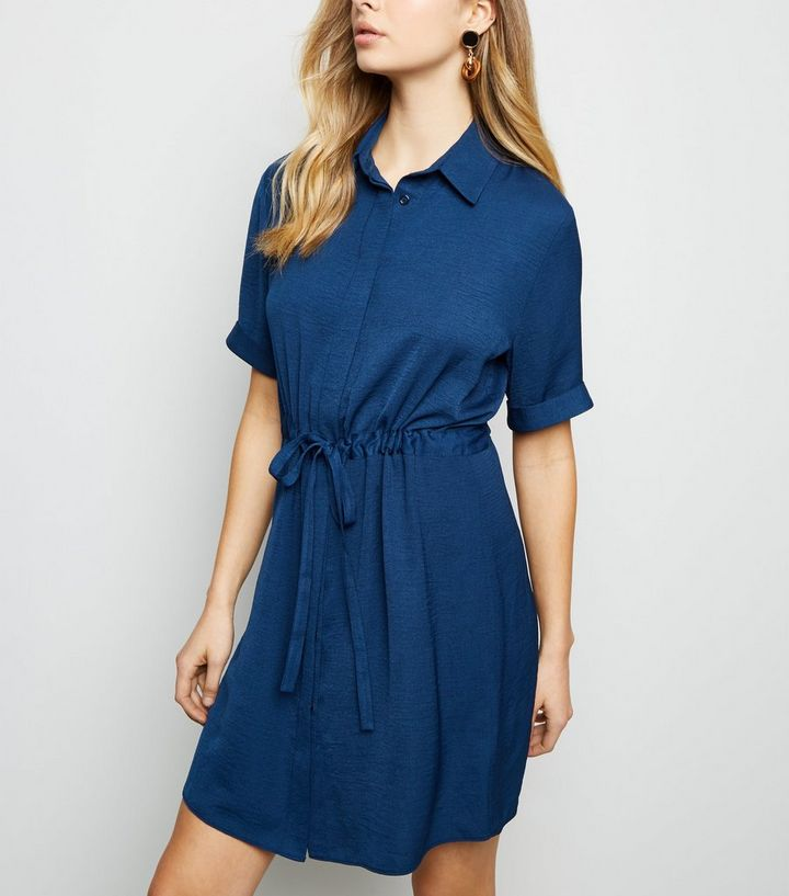blue-twill-drawstring-waist-shirt-dress