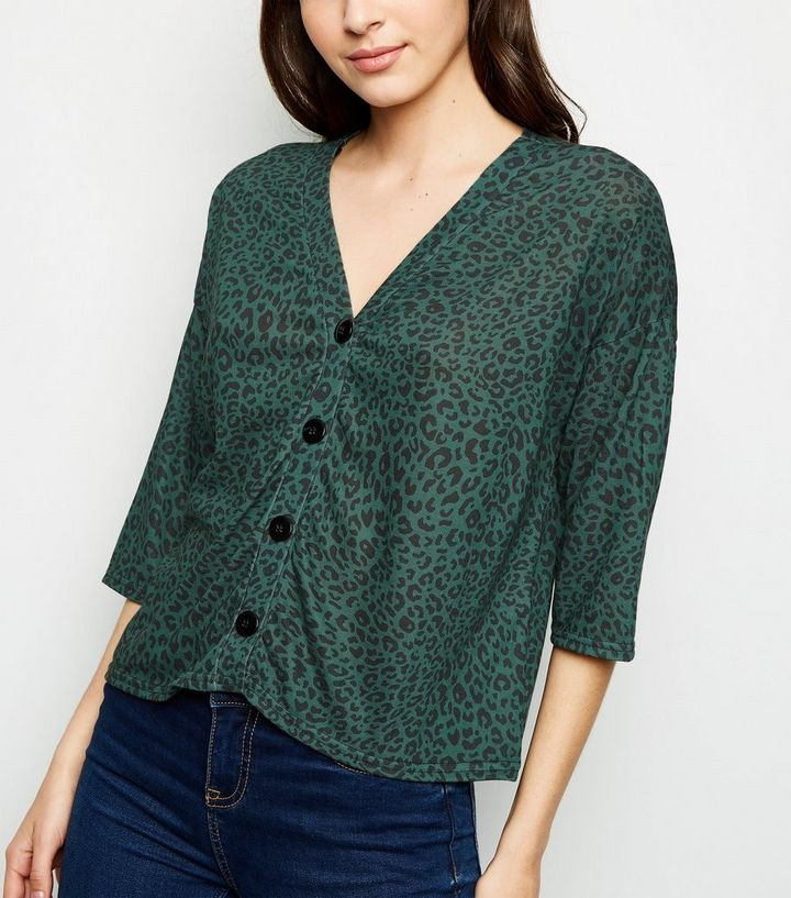 green-leopard-print-button-front-top-