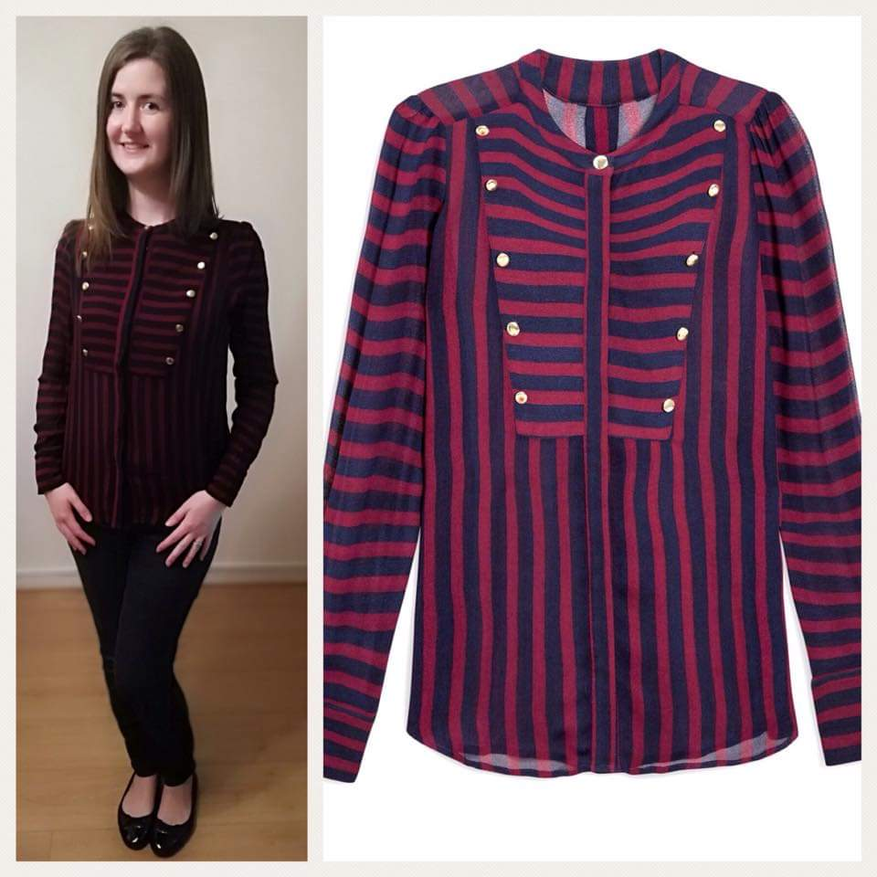 8 Military button striped blouse