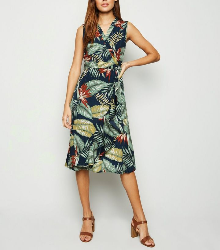 mela-blue-tropical-leaf-wrap-midi-dress
