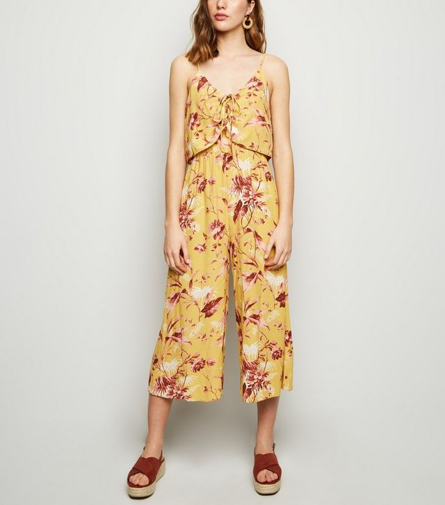 new look mustard-tropical-lace-up-jumpsuit