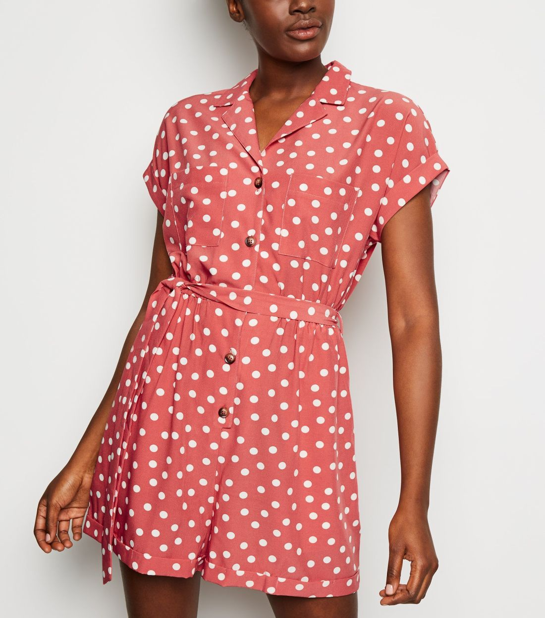 new look pink-spot-revere-collar-playsuit