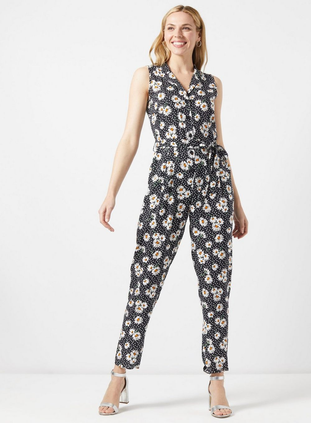 dorothy perkins Daisy Print Collared Jumpsuit