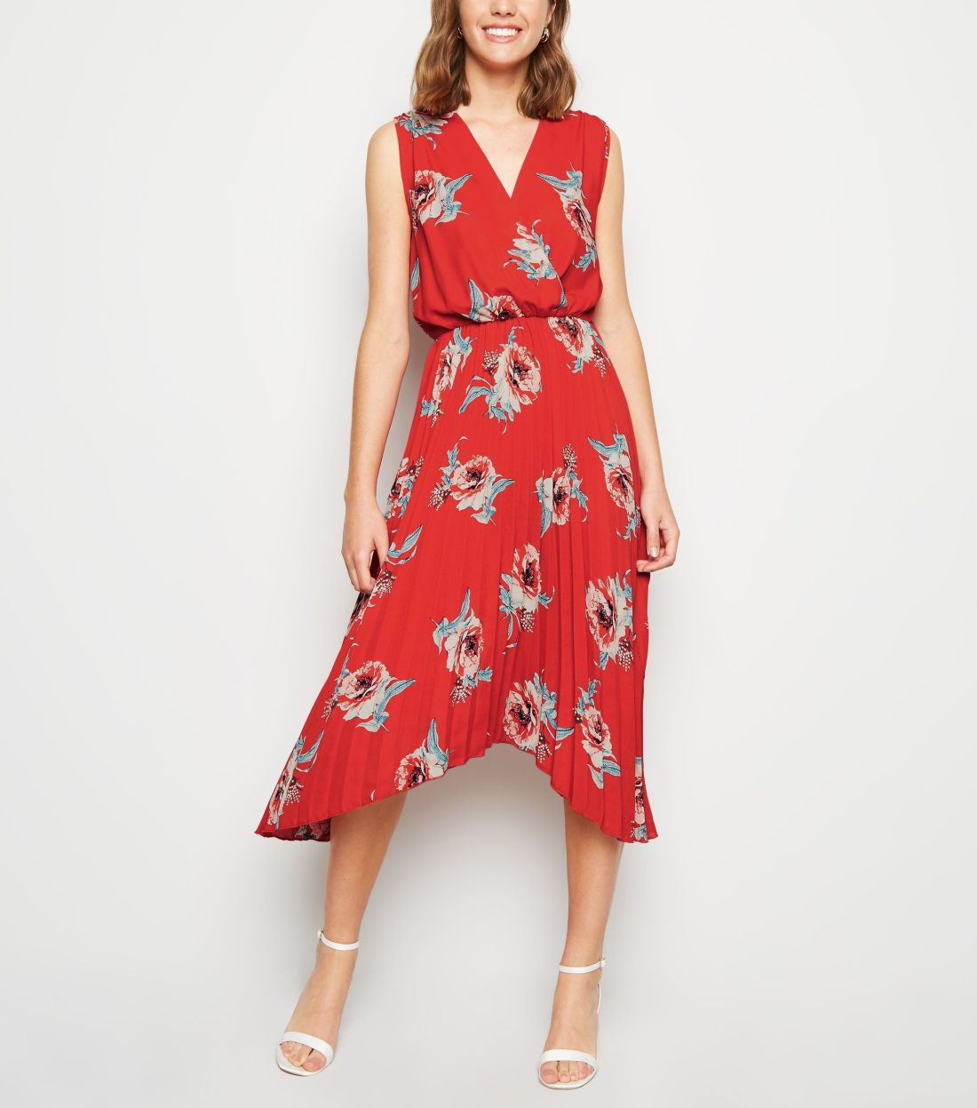 new look red-floral-pleated-hanky-hem-midi-dress