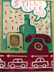 STILL LIFE STILL (1989) olio su carta parati antimuffa (37,5x29)