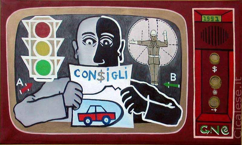 CONSIGLI PER IL TRAFFICO (1991) olio su tela (41x69)