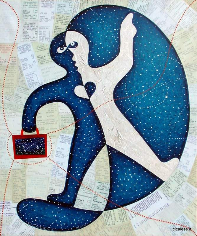RIEPILOGO (2006) olio e collage su tela (60x50)