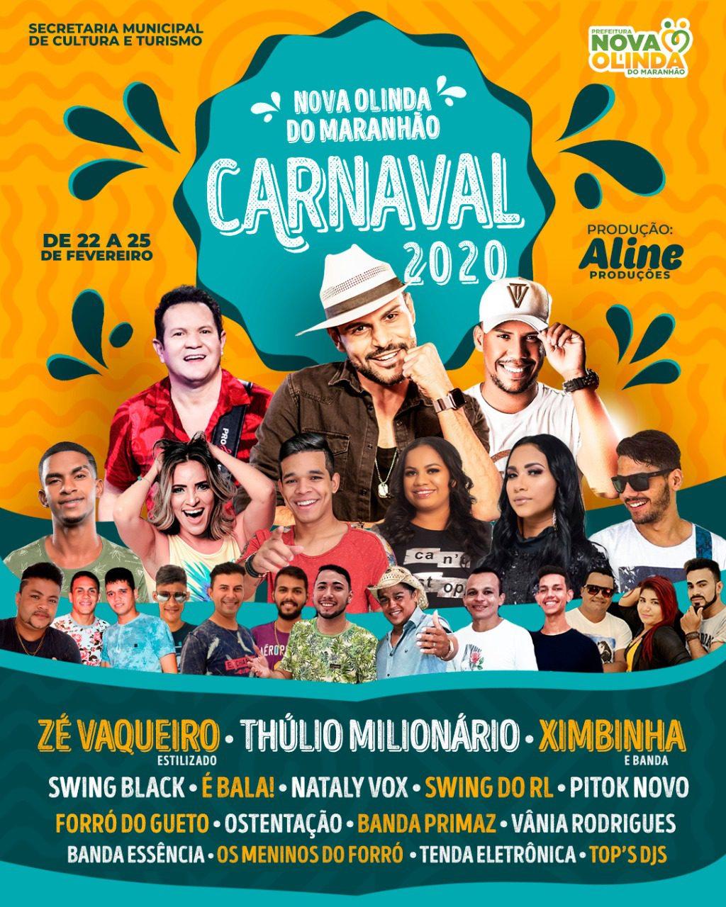 Definida a programação oficial do Carnaval 2020 em Nova Olinda do Maranhão.