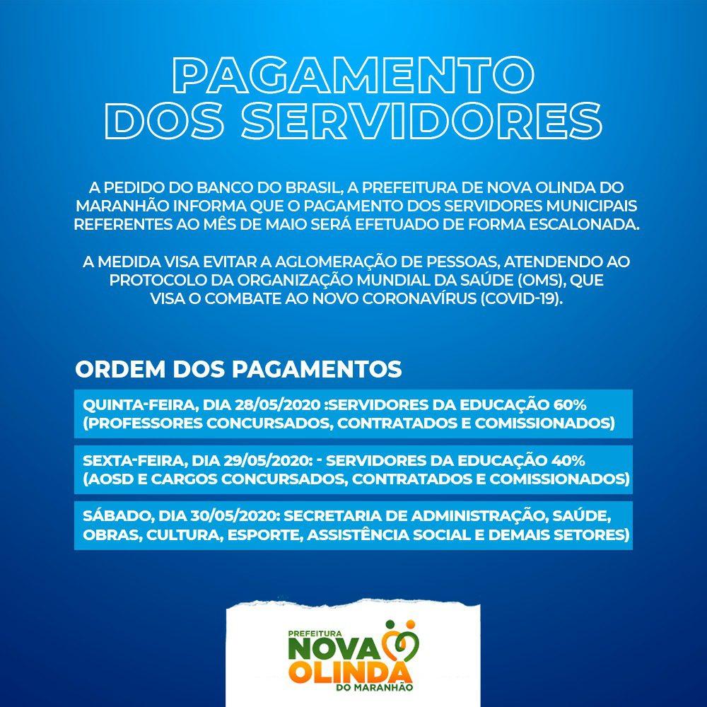 Prefeitura de Nova Olinda do MA divulga calendário de pagamento dos servidores