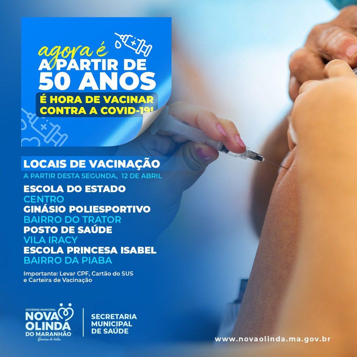 Atenção: Nova Olinda do MA inicia vacinação contra a COVID de pessoas a partir de 50 anos amanhã