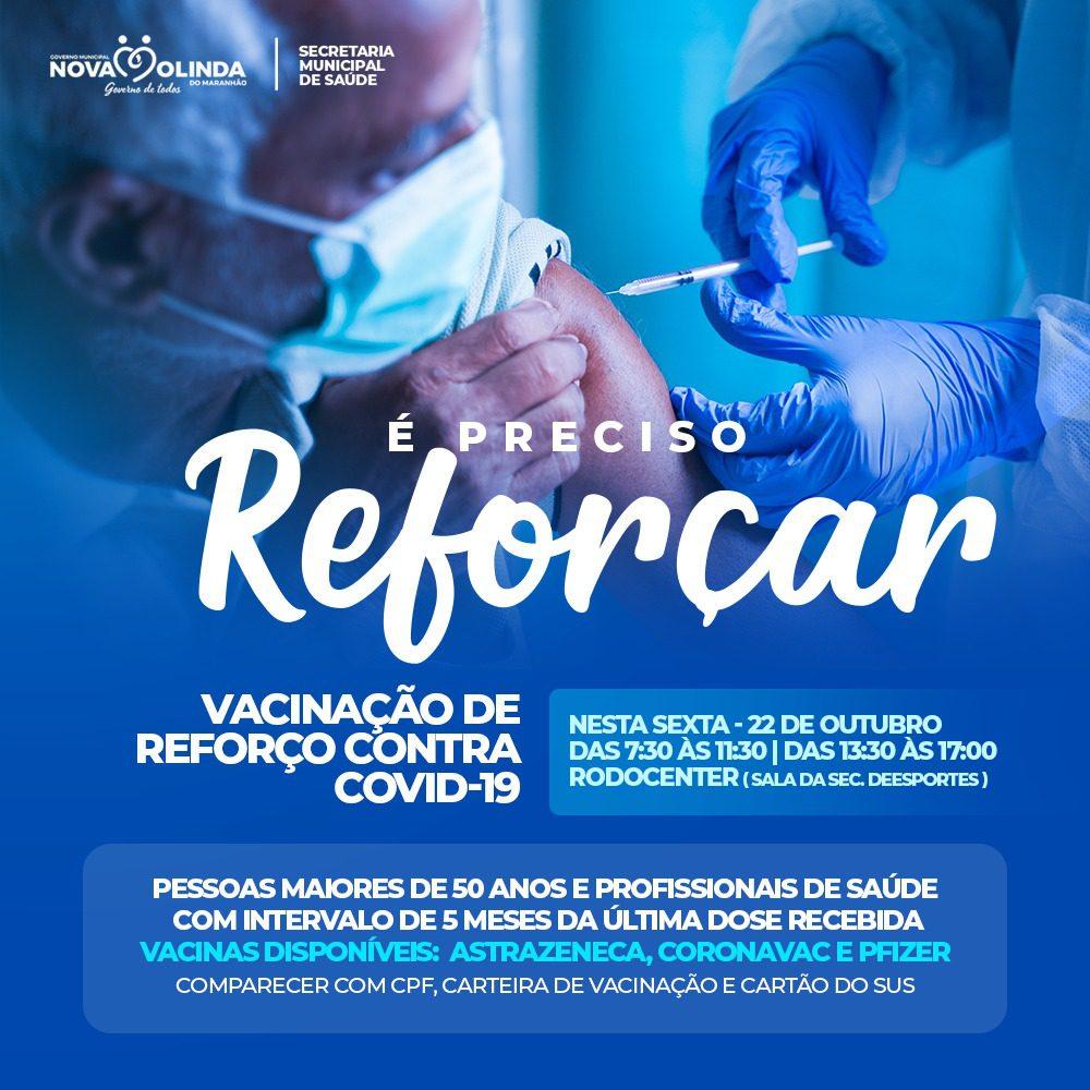Será iniciada amanhã (22) vacinação de reforço contra COVID 19 para maiores de 50 anos e profissionais de saúde