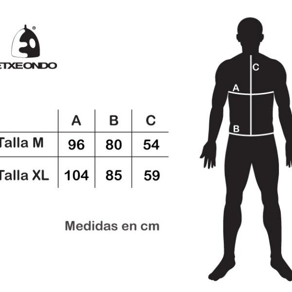 Guía tallas Etxeondo Bergen Negro