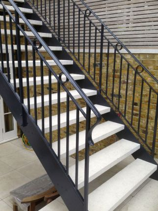 Bespoke Iron and Limestone staircase for Knightsbridge garden