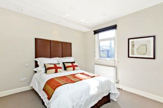 Contemporary Farrow & Ball decorated bedroom in Clapham refurbishment