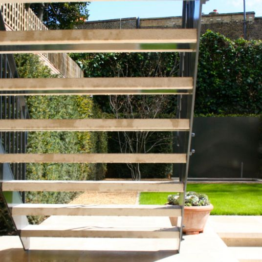 Contemporary Limestone stairway to garden