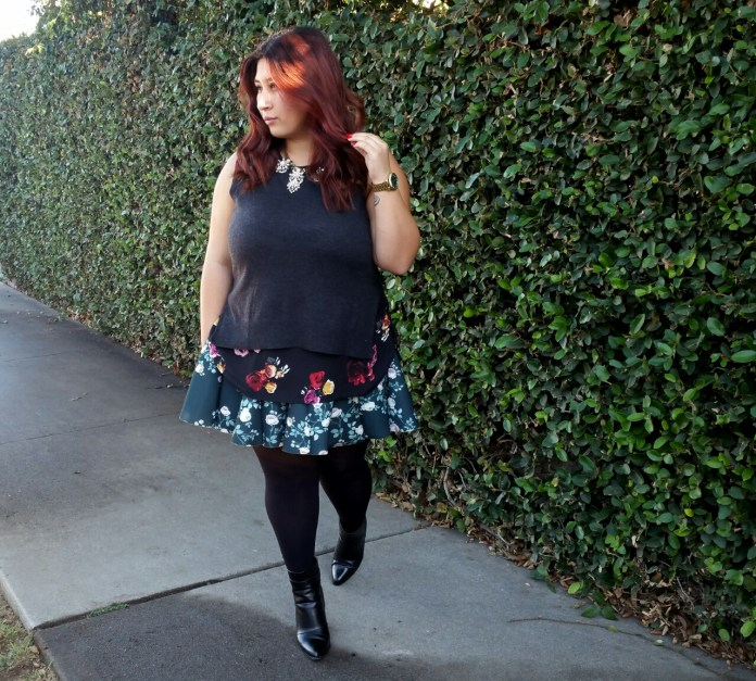 mix patterns, outfits, fall outfits, skater skirt