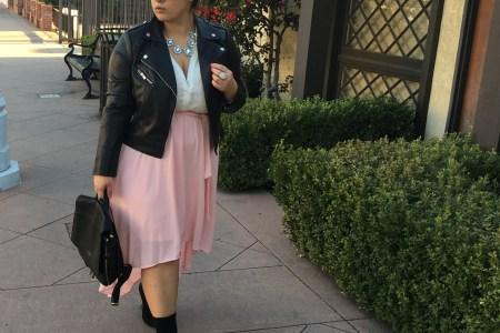 edgy outfit, edge, skirts, moto jacket, casual, feminine, flowy