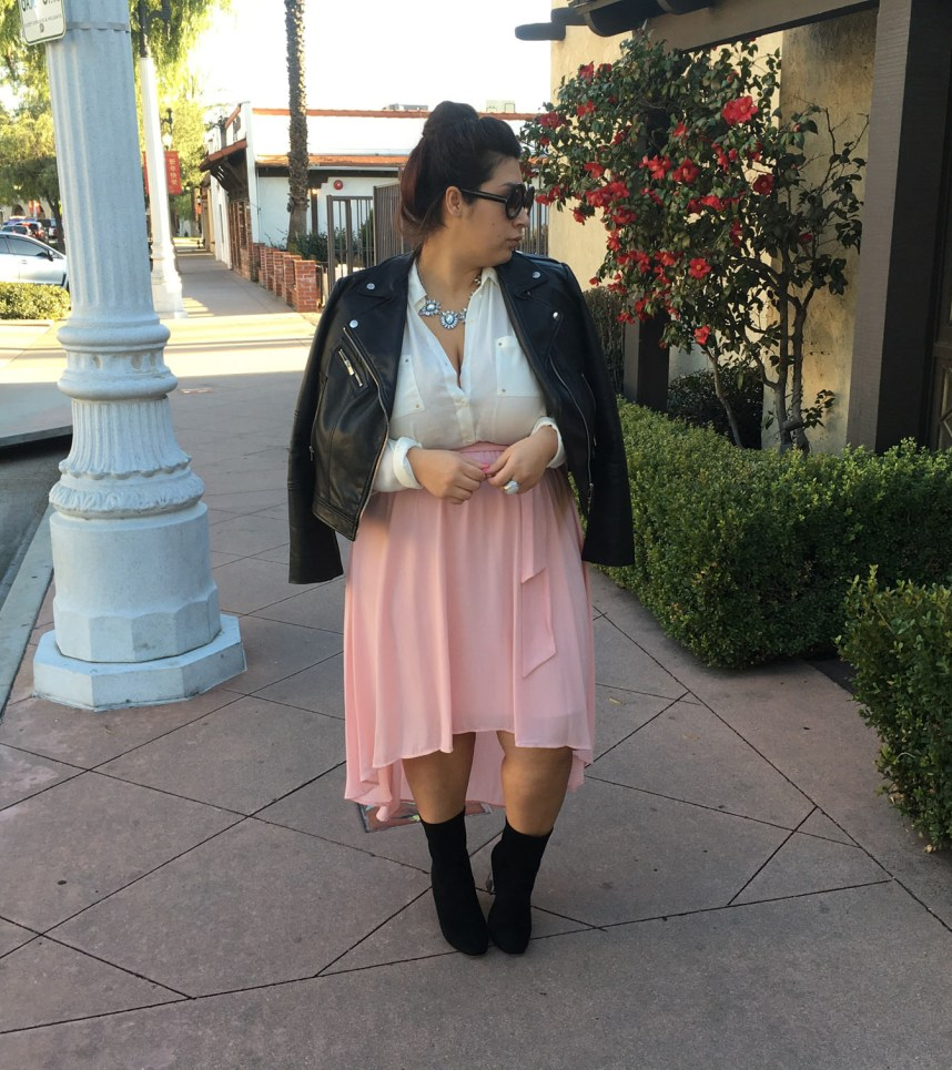 edgy outfit, edge, skirts, moto jacket, casual, feminine, flowy