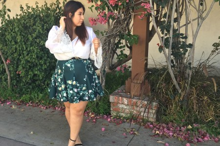 romantic look, outfit, plus size, floral print, skirt, boho, fashion to figure, chic