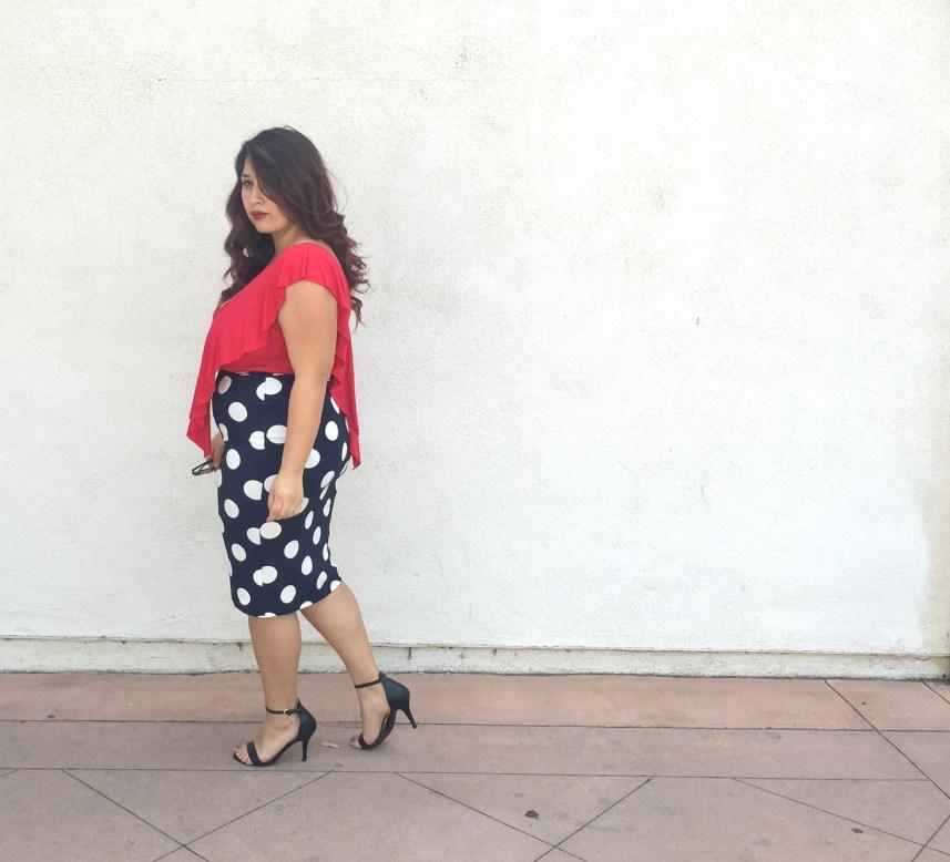 polka dots, plus size, spring, vintage look, retro, pencil skirt, crop top
