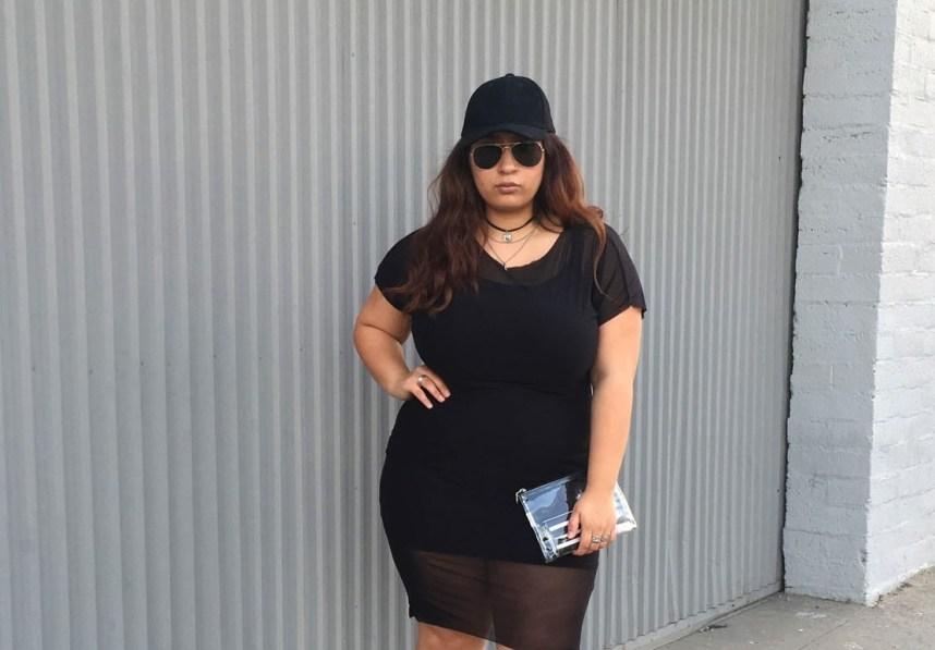 sporty, mesh dress, black dress, hat