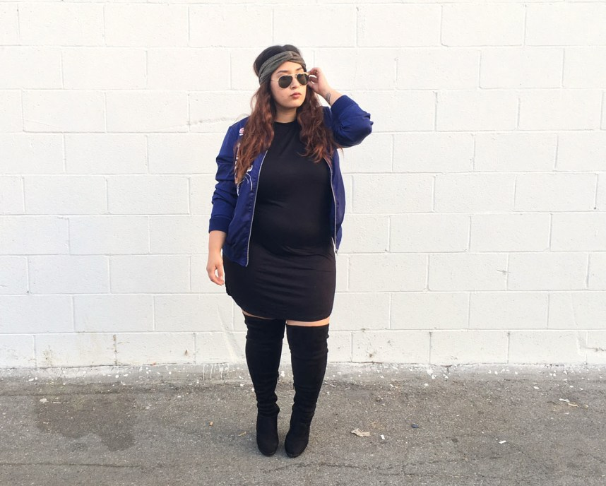 wet seal pls, t-shirt dress, bomber jacket, over the knee boots