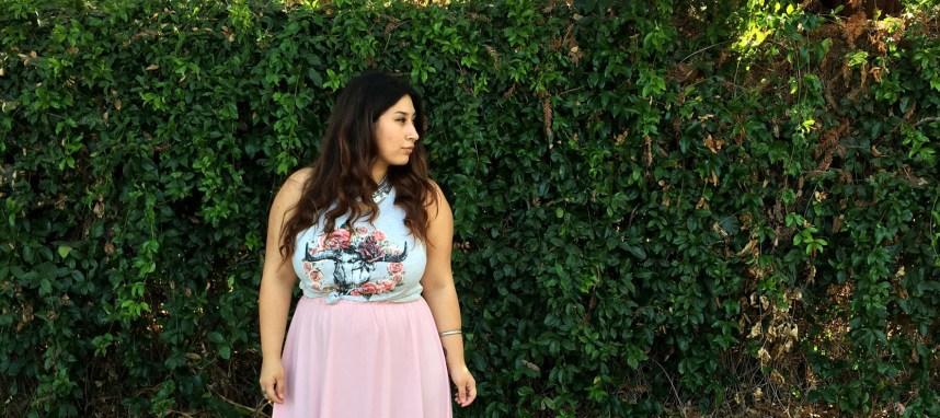 pink, skirt, graphic tee