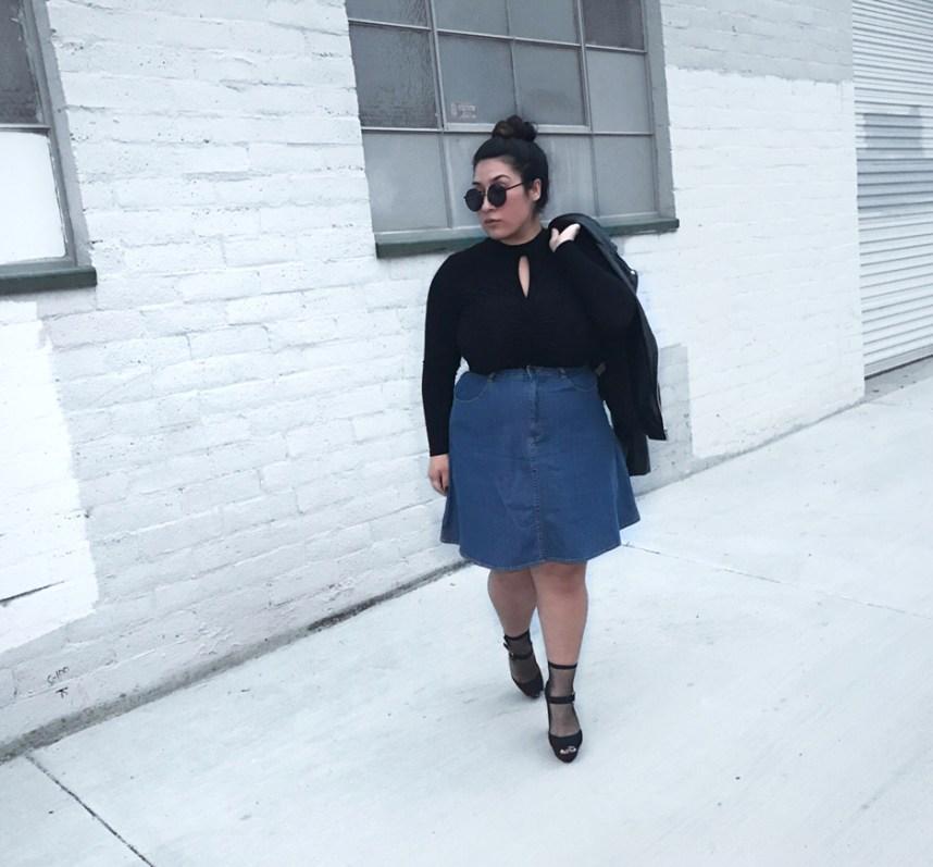 custom made, denim skirt, moto jacket