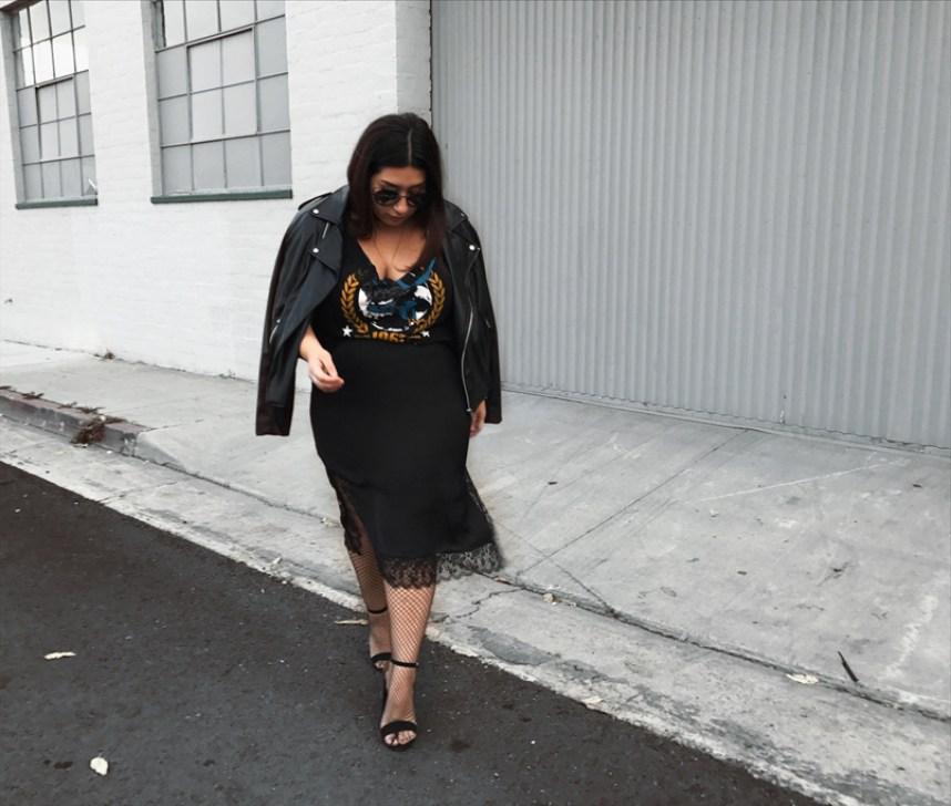 skirt, edgy, moto jacket, graphic t-shirt