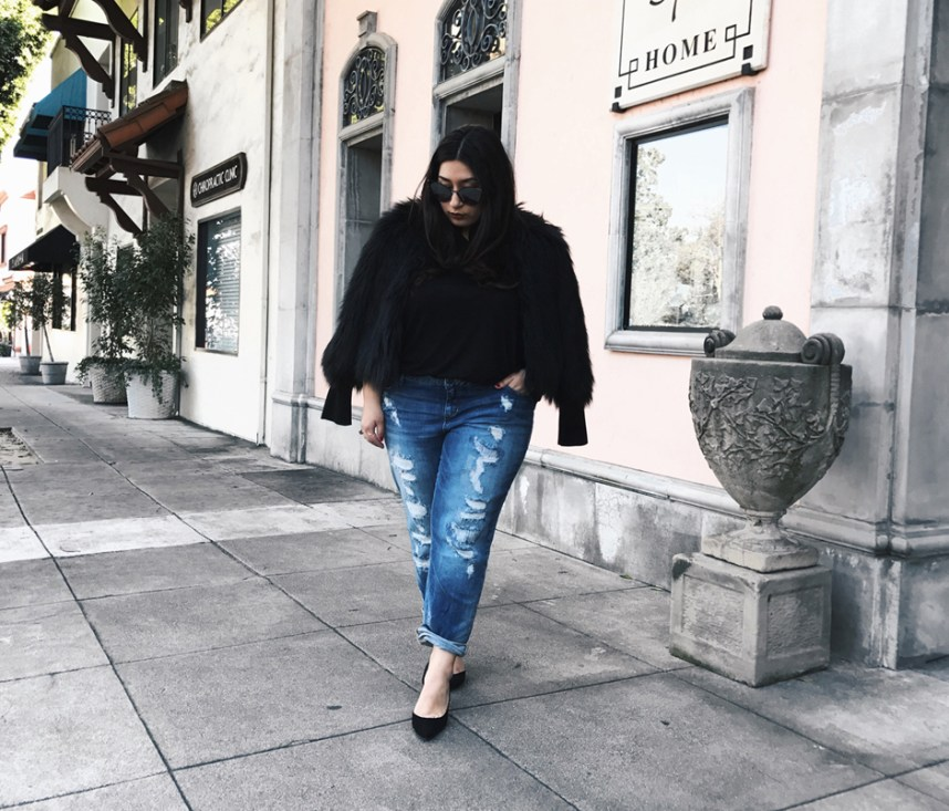 denim, edgy, slink jeans, faux fur