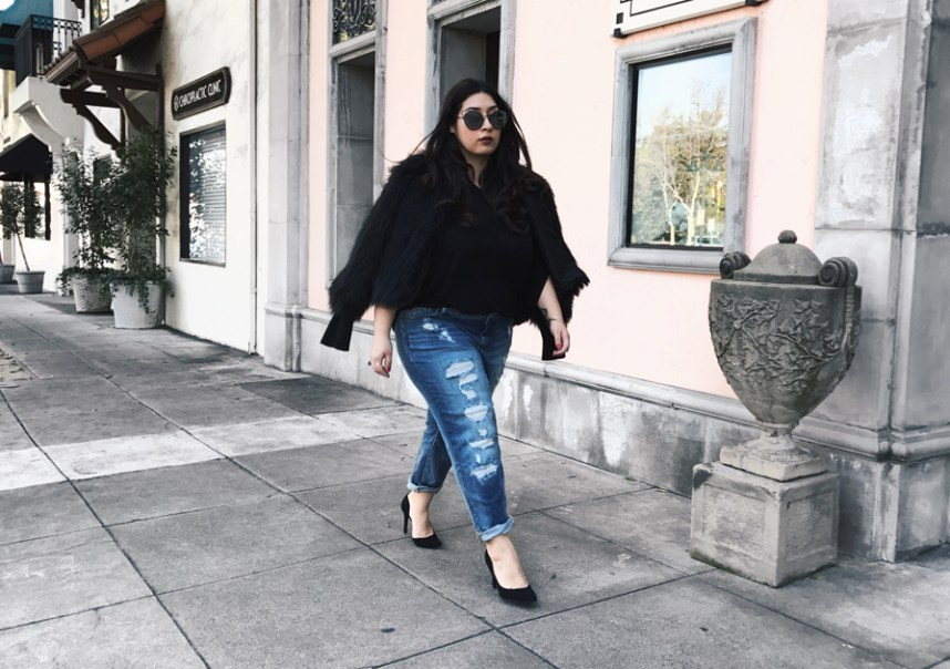 denim, edgy, slink jeans, faux fur
