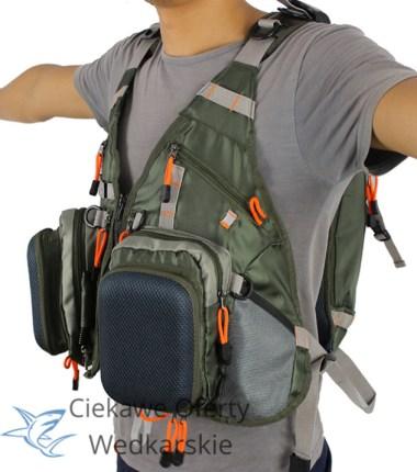 Solidna kamizelka wędkarska z plecakiem