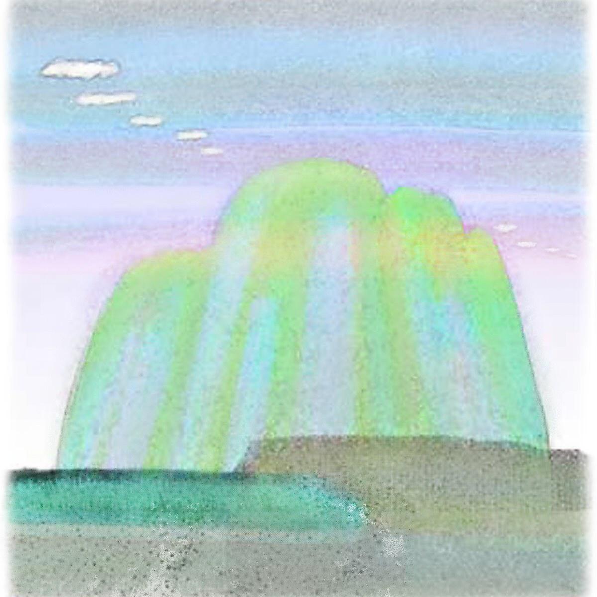 江口真代のpdf絵本「クルル村の虹の湖」「西の山」の絵